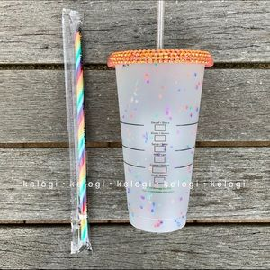 Starbucks Other - 🌈NEW🌈Starbucks Rainbow Bedazzled Confetti Cup